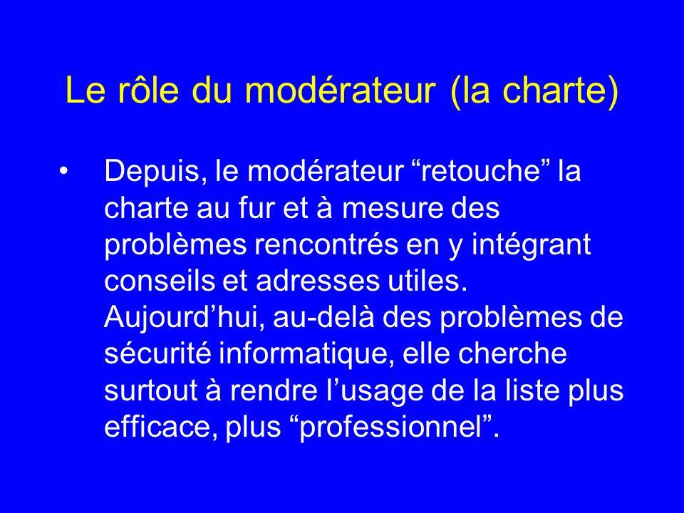Le rôle du modérateur (la charte) Depuis, le modérateur retouche la charte au fur et à mesure des problèmes rencontrés en y intégrant conseils et adre