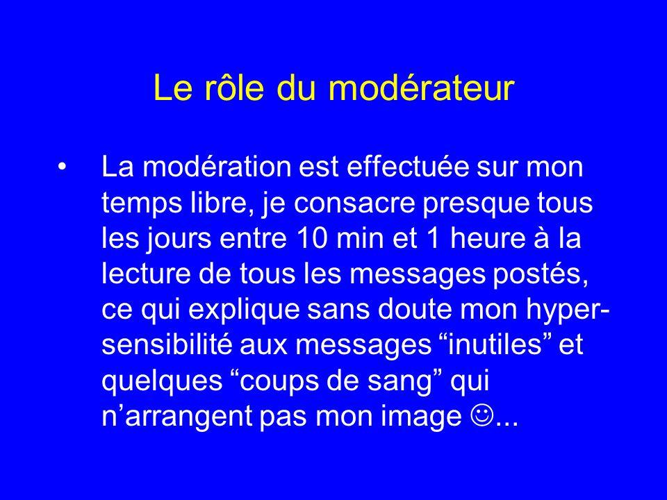 Le rôle du modérateur La modération est effectuée sur mon temps libre, je consacre presque tous les jours entre 10 min et 1 heure à la lecture de tous