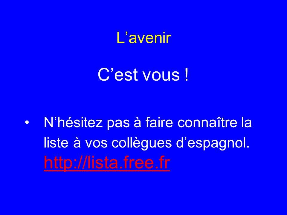 Lavenir Cest vous ! Nhésitez pas à faire connaître la liste à vos collègues despagnol. http://lista.free.fr http://lista.free.fr