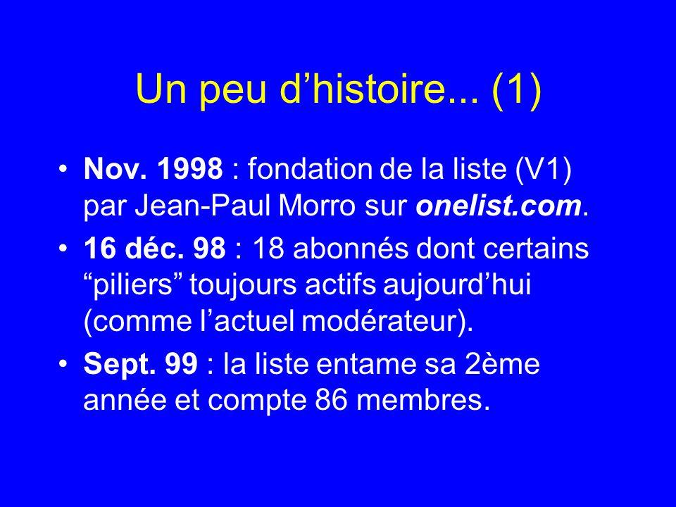 Un peu dhistoire... (1) Nov. 1998 : fondation de la liste (V1) par Jean-Paul Morro sur onelist.com. 16 déc. 98 : 18 abonnés dont certains piliers touj