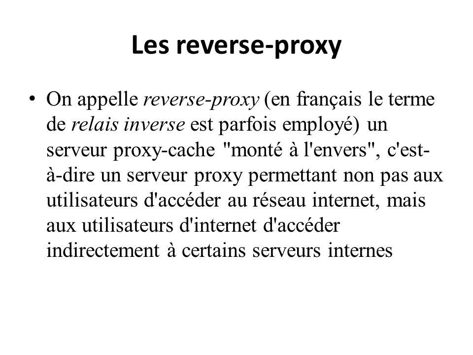 Les reverse-proxy On appelle reverse-proxy (en français le terme de relais inverse est parfois employé) un serveur proxy-cache