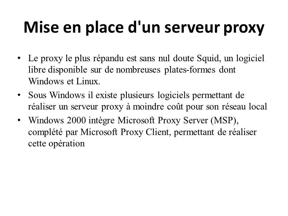 Mise en place d'un serveur proxy Le proxy le plus répandu est sans nul doute Squid, un logiciel libre disponible sur de nombreuses plates-formes dont