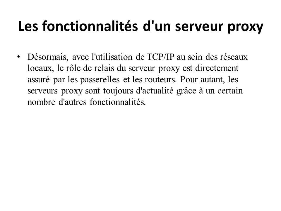 Les fonctionnalités d'un serveur proxy Désormais, avec l'utilisation de TCP/IP au sein des réseaux locaux, le rôle de relais du serveur proxy est dire