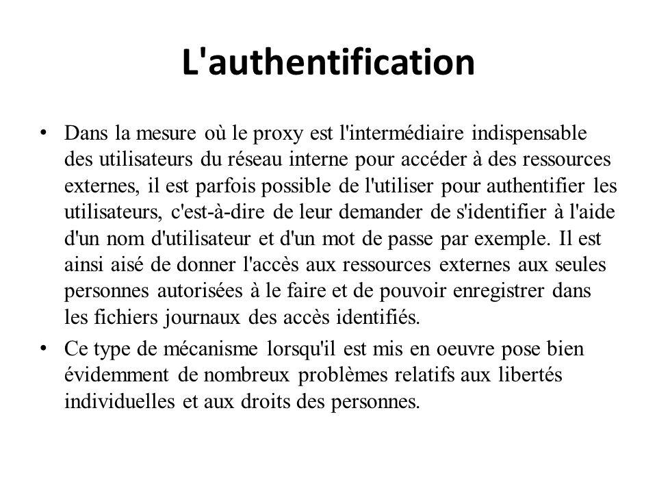 L'authentification Dans la mesure où le proxy est l'intermédiaire indispensable des utilisateurs du réseau interne pour accéder à des ressources exter