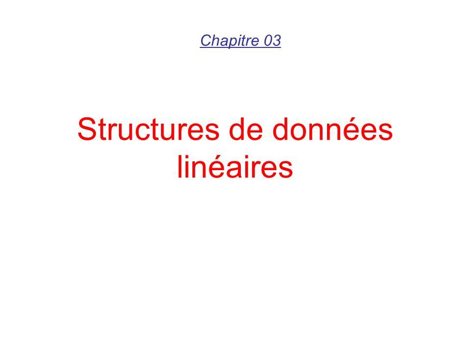 Liste linéaire (Implémentation chaînée) Les éléments ne sont pas rangés les uns à côté des autres.