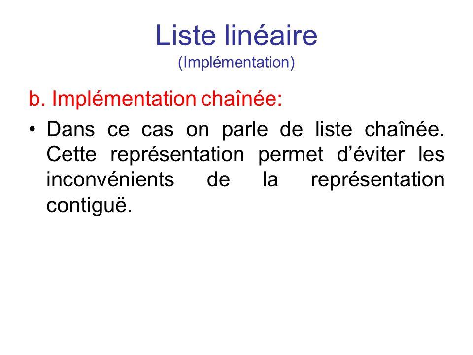 Liste linéaire (Implémentation) b. Implémentation chaînée: Dans ce cas on parle de liste chaînée. Cette représentation permet déviter les inconvénient