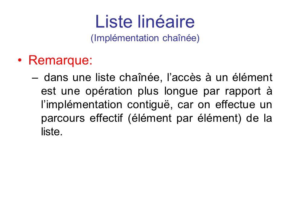 Liste linéaire (Implémentation chaînée) Remarque: – dans une liste chaînée, laccès à un élément est une opération plus longue par rapport à limplément