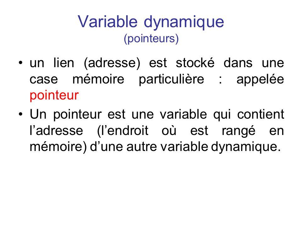 Variable dynamique (pointeurs) un lien (adresse) est stocké dans une case mémoire particulière : appelée pointeur Un pointeur est une variable qui con