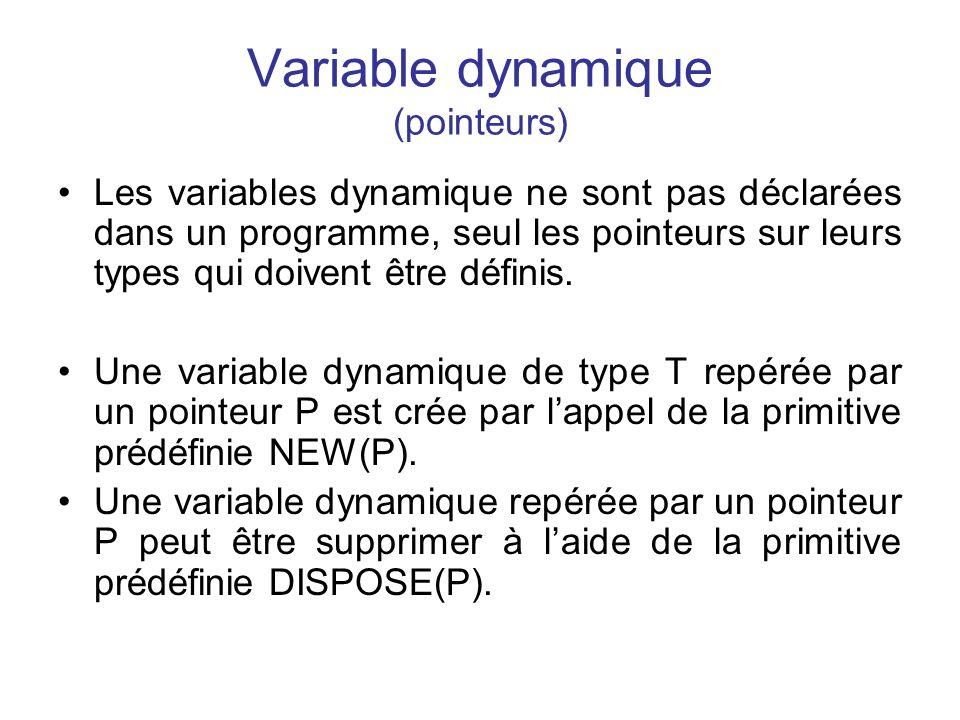 Variable dynamique (pointeurs) Les variables dynamique ne sont pas déclarées dans un programme, seul les pointeurs sur leurs types qui doivent être dé