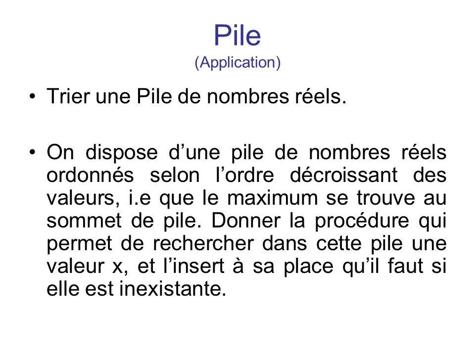 Pile (Application) Trier une Pile de nombres réels. On dispose dune pile de nombres réels ordonnés selon lordre décroissant des valeurs, i.e que le ma
