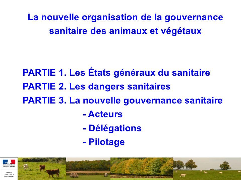 La nouvelle organisation de la gouvernance sanitaire des animaux et végétaux PARTIE 1. Les États généraux du sanitaire PARTIE 2. Les dangers sanitaire