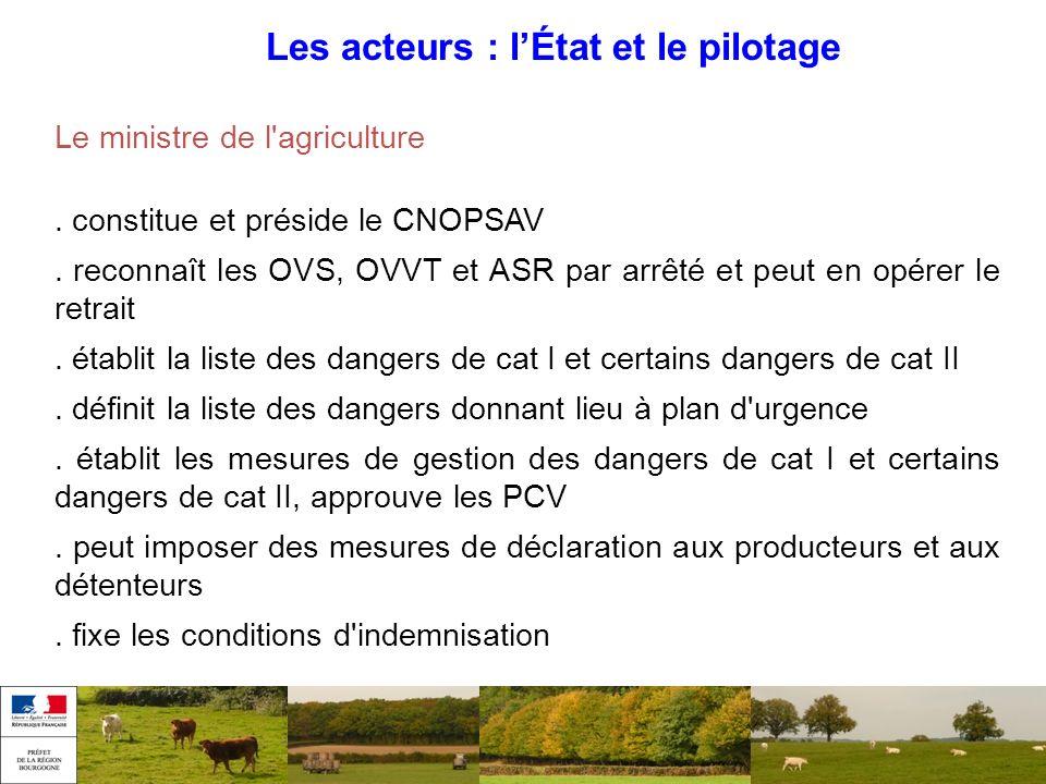 Les acteurs : lÉtat et le pilotage Le ministre de l'agriculture. constitue et préside le CNOPSAV. reconnaît les OVS, OVVT et ASR par arrêté et peut en