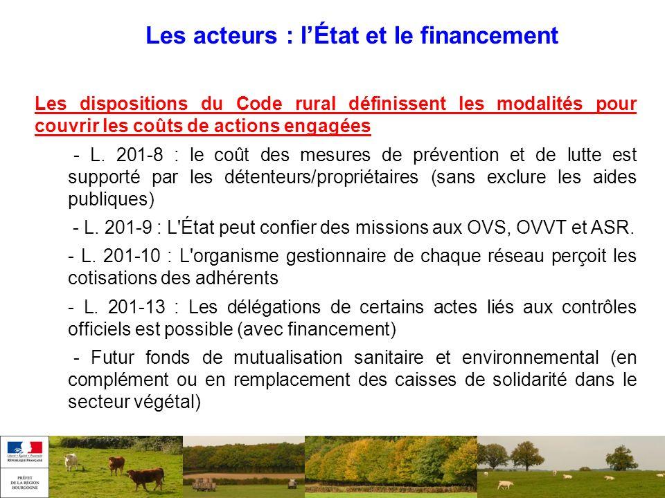 Les acteurs : lÉtat et le financement Les dispositions du Code rural définissent les modalités pour couvrir les coûts de actions engagées - L. 201-8 :