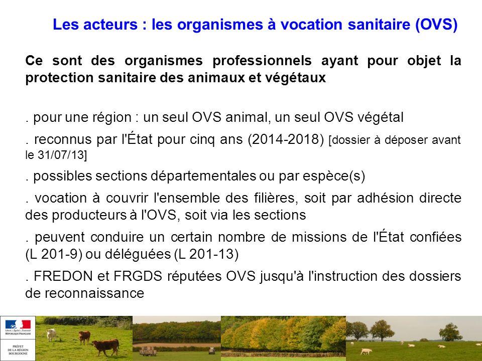 Les acteurs : les organismes à vocation sanitaire (OVS) Ce sont des organismes professionnels ayant pour objet la protection sanitaire des animaux et
