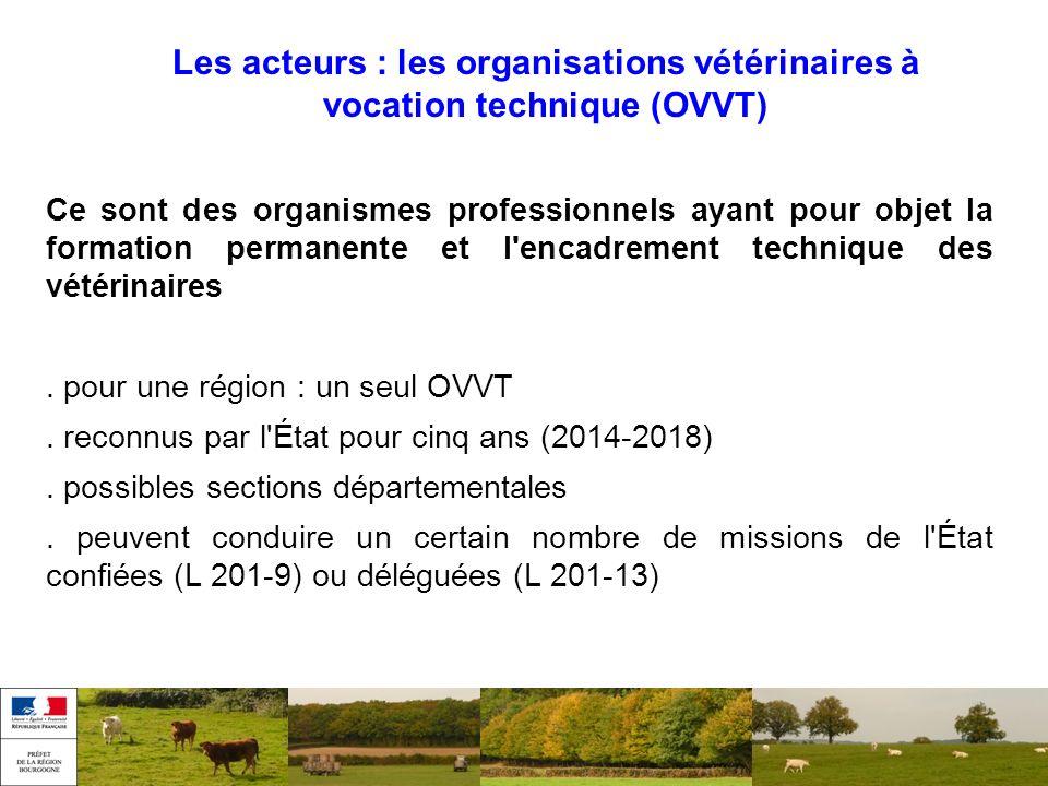 Les acteurs : les organisations vétérinaires à vocation technique (OVVT) Ce sont des organismes professionnels ayant pour objet la formation permanent