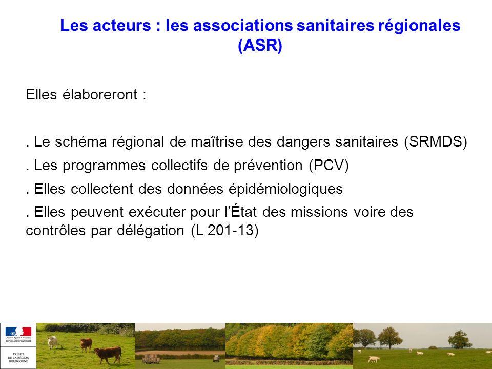 Les acteurs : les associations sanitaires régionales (ASR) Elles élaboreront :. Le schéma régional de maîtrise des dangers sanitaires (SRMDS). Les pro