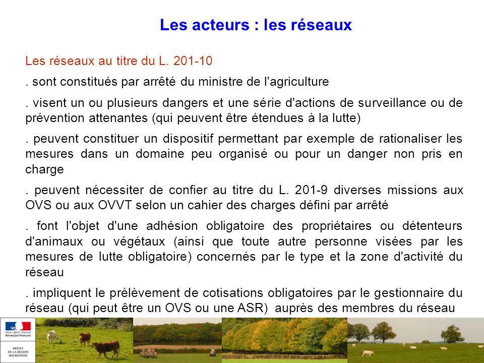 Les acteurs : les réseaux Les réseaux au titre du L. 201-10. sont constitués par arrêté du ministre de l'agriculture. visent un ou plusieurs dangers e