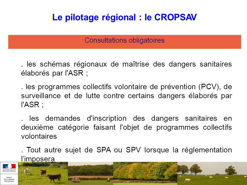 . les schémas régionaux de maîtrise des dangers sanitaires élaborés par l'ASR ;. les programmes collectifs volontaire de prévention (PCV), de surveill
