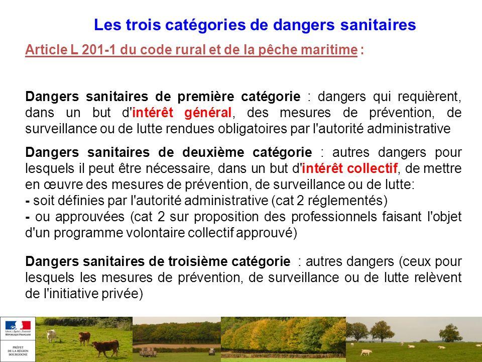 Les trois catégories de dangers sanitaires Article L 201-1 du code rural et de la pêche maritime : Dangers sanitaires de première catégorie : dangers