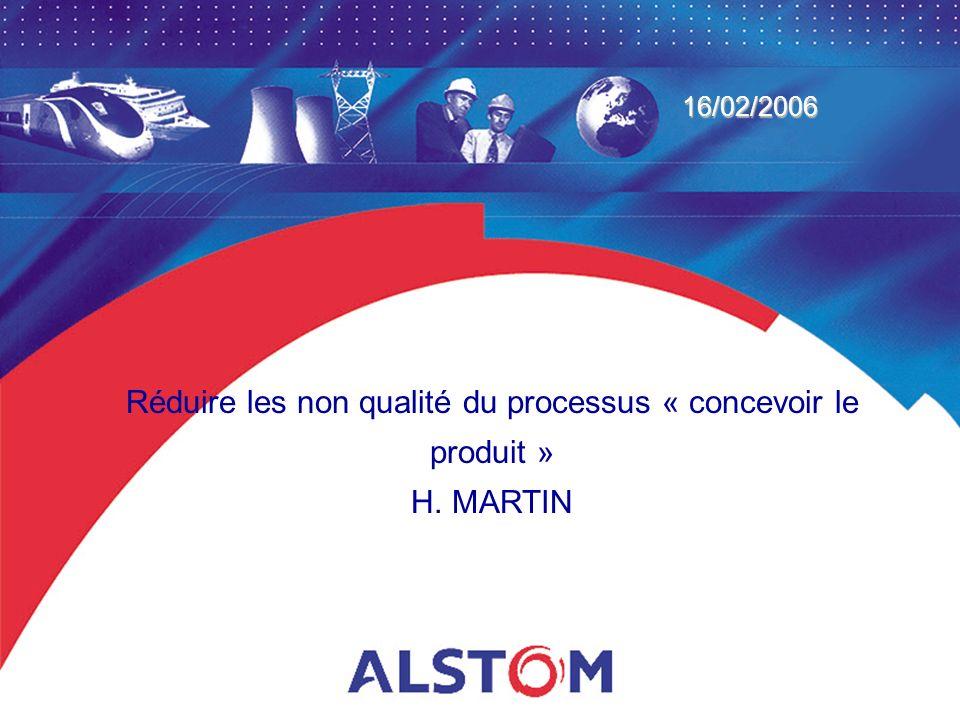 Réduire les non qualité du processus « concevoir le produit » H. MARTIN 16/02/2006