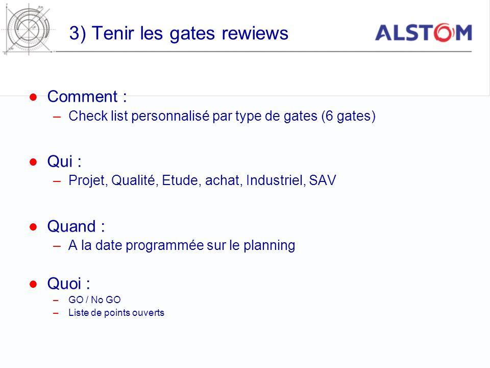 3) Tenir les gates rewiews Comment : –Check list personnalisé par type de gates (6 gates) Qui : –Projet, Qualité, Etude, achat, Industriel, SAV Quand