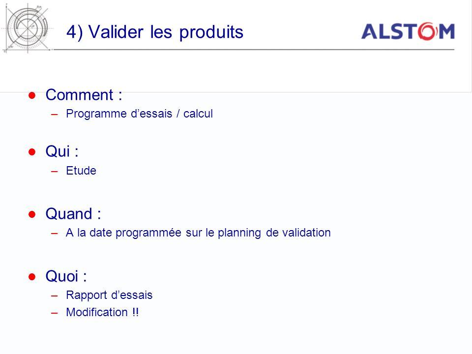 4) Valider les produits Comment : –Programme dessais / calcul Qui : –Etude Quand : –A la date programmée sur le planning de validation Quoi : –Rapport