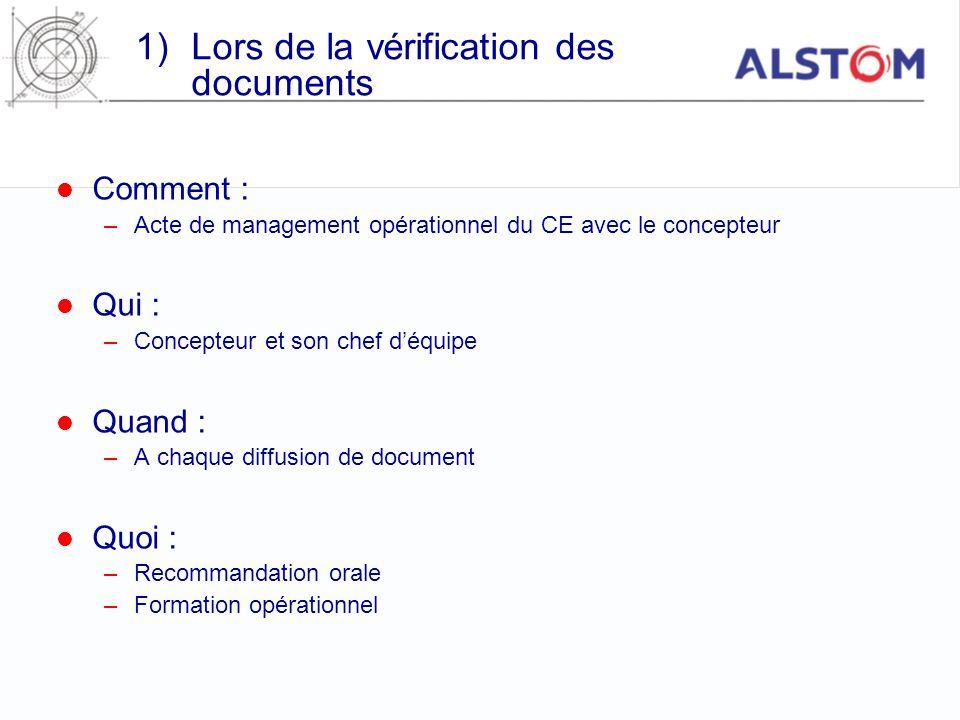 1)Lors de la vérification des documents Comment : –Acte de management opérationnel du CE avec le concepteur Qui : –Concepteur et son chef déquipe Quan