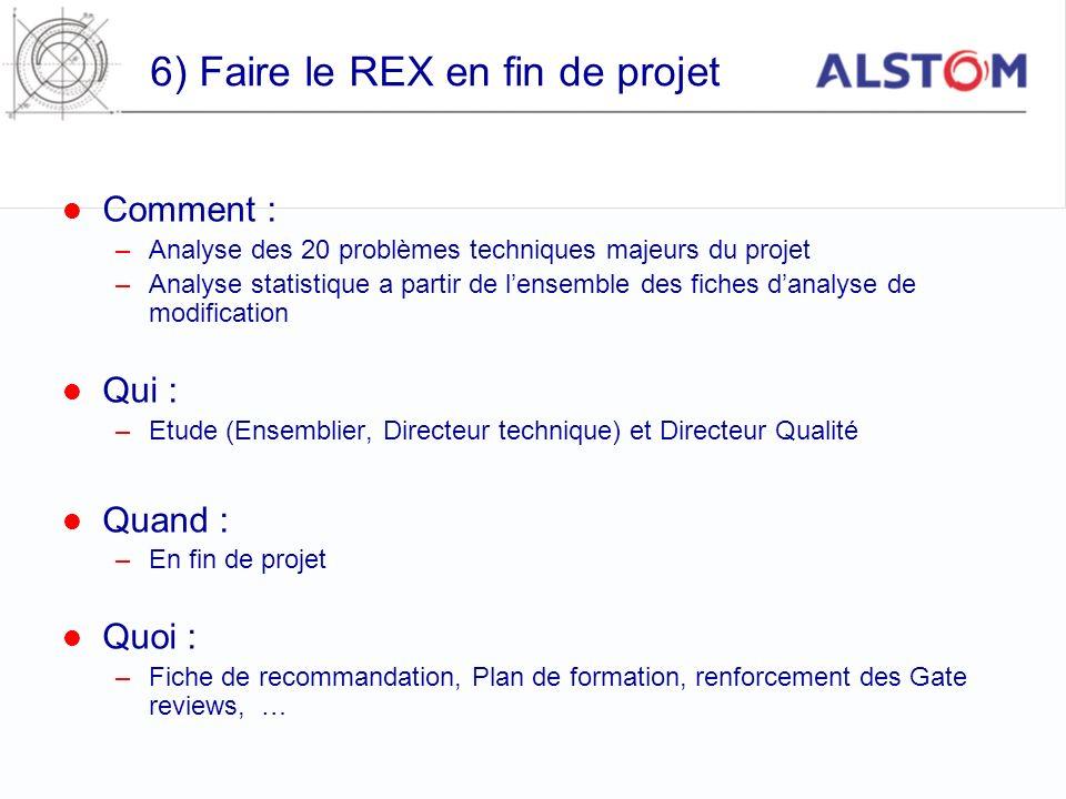 6) Faire le REX en fin de projet Comment : –Analyse des 20 problèmes techniques majeurs du projet –Analyse statistique a partir de lensemble des fiche
