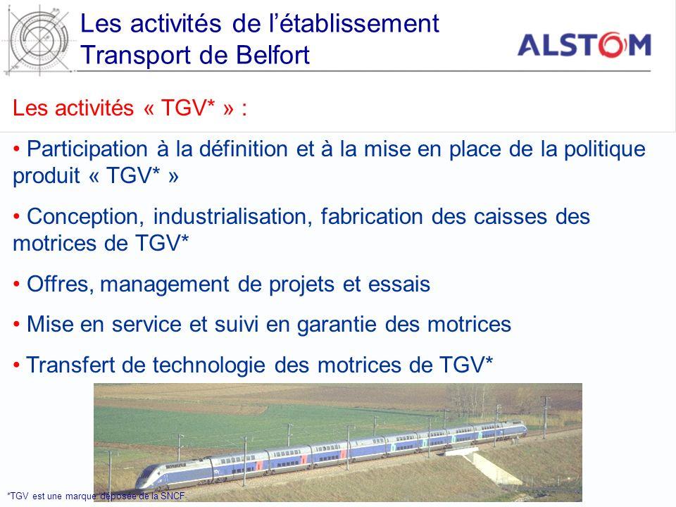 Les activités de létablissement Transport de Belfort Les activités « TGV* » : Participation à la définition et à la mise en place de la politique prod