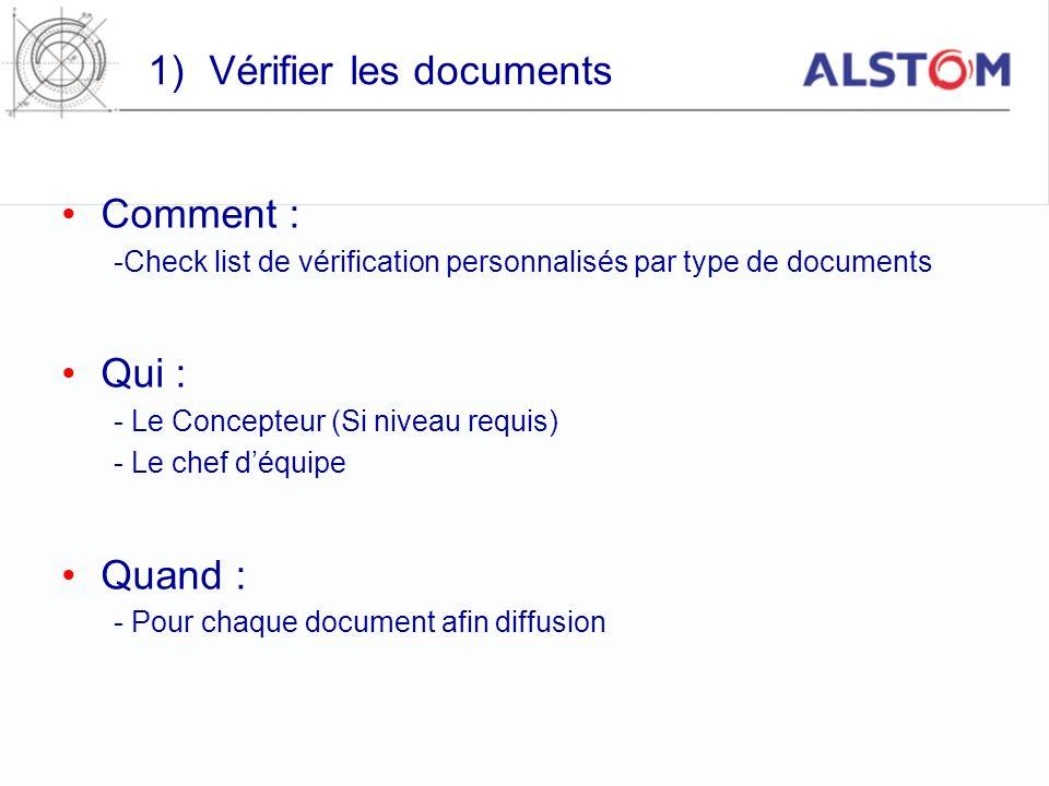 1)Vérifier les documents Comment : -Check list de vérification personnalisés par type de documents Qui : - Le Concepteur (Si niveau requis) - Le chef
