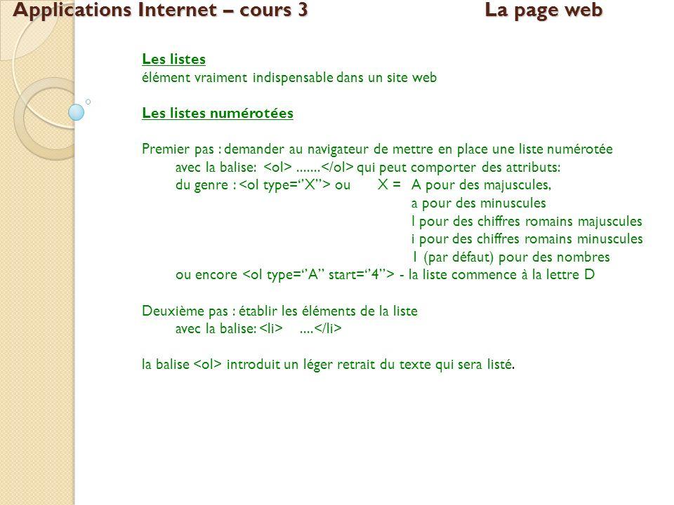 Applications Internet – cours 3La page web Les listes élément vraiment indispensable dans un site web Les listes numérotées Premier pas : demander au