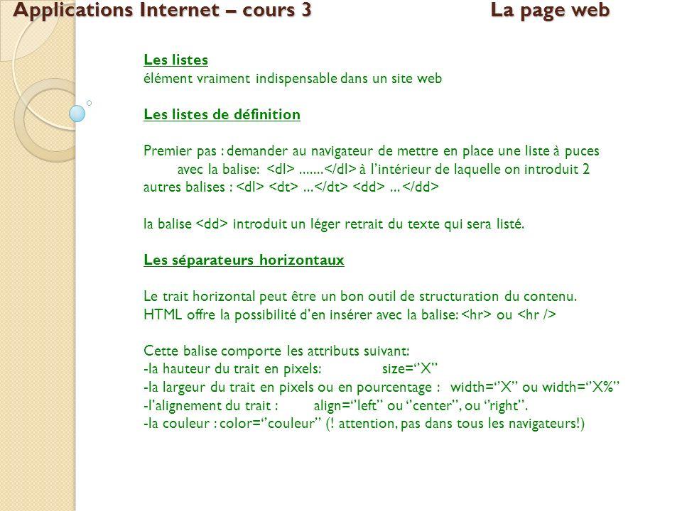 Applications Internet – cours 3La page web Les listes élément vraiment indispensable dans un site web Les listes de définition Premier pas : demander