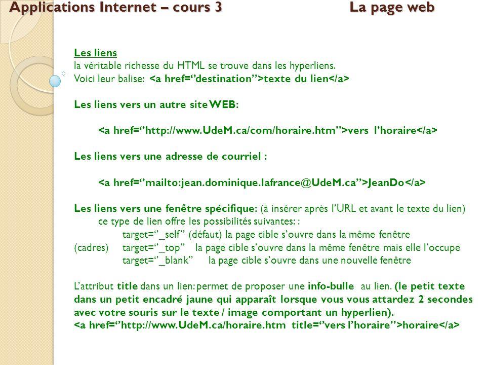 Applications Internet – cours 3La page web Les liens la véritable richesse du HTML se trouve dans les hyperliens. Voici leur balise: texte du lien Les