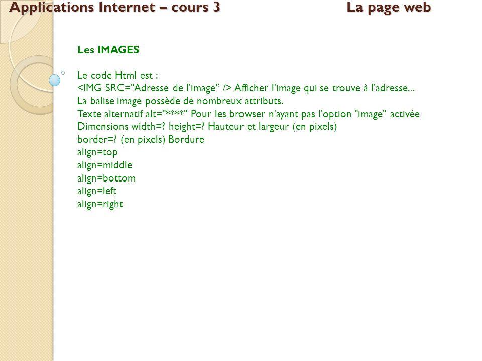 Applications Internet – cours 3La page web Les IMAGES Le code Html est : Afficher l'image qui se trouve à l'adresse... La balise image possède de nomb