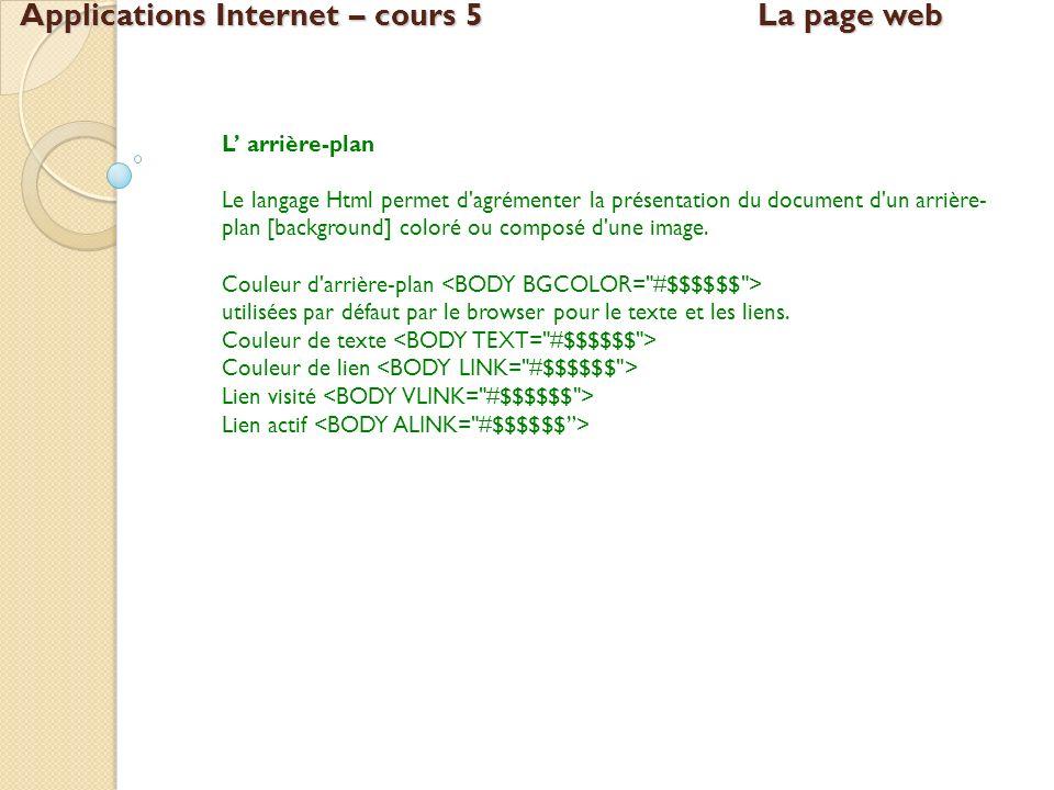 Applications Internet – cours 5La page web L arrière-plan Le langage Html permet d'agrémenter la présentation du document d'un arrière- plan [backgrou