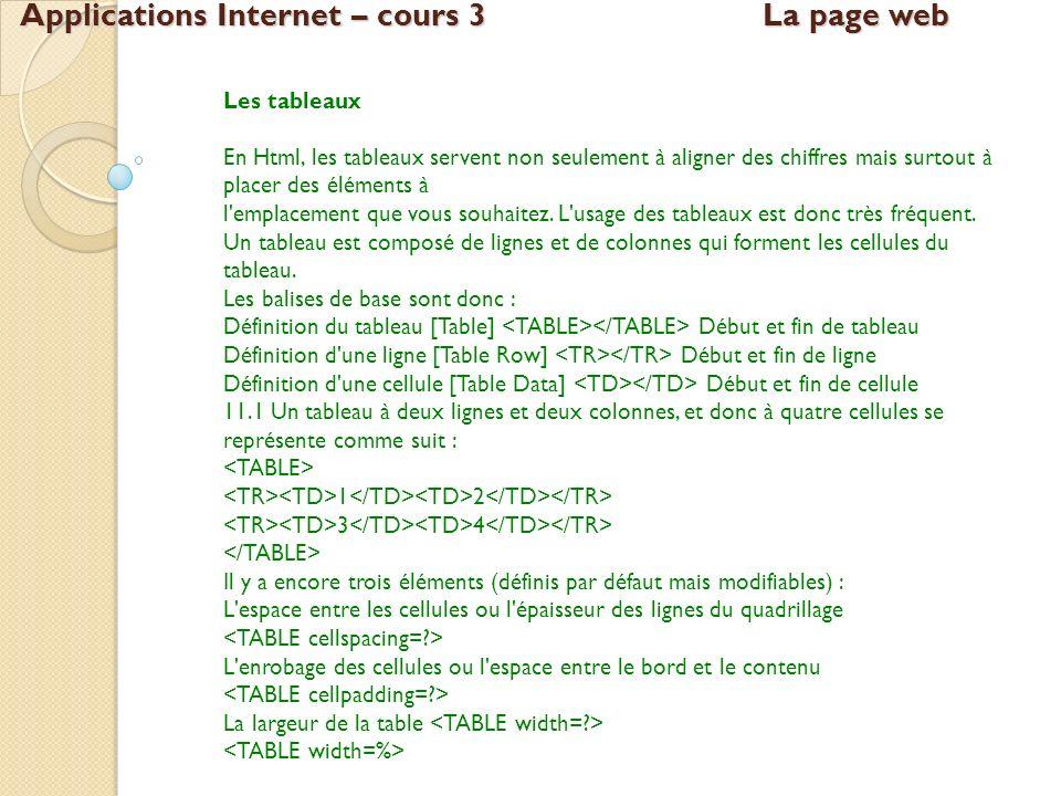Applications Internet – cours 3La page web Les tableaux En Html, les tableaux servent non seulement à aligner des chiffres mais surtout à placer des é