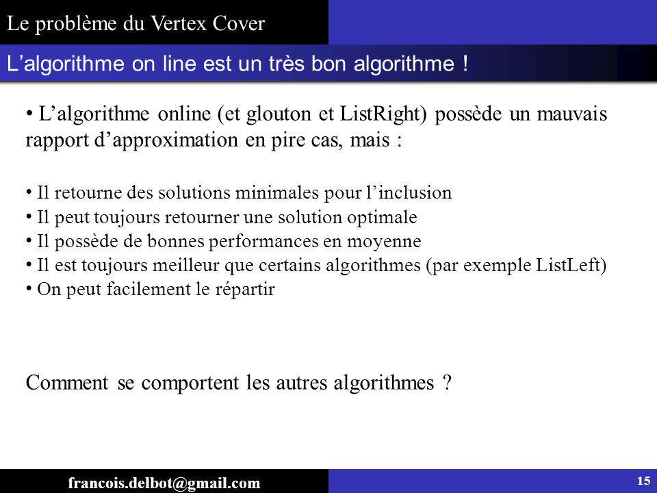 Lalgorithme on line est un très bon algorithme ! 15 francois.delbot@gmail.com Il retourne des solutions minimales pour linclusion Il peut toujours ret