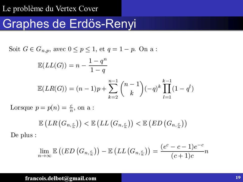 Graphes de Erdös-Renyi 19 francois.delbot@gmail.com Le problème du Vertex Cover