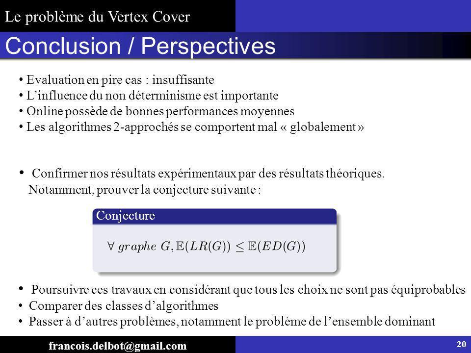 Conclusion / Perspectives Conjecture Poursuivre ces travaux en considérant que tous les choix ne sont pas équiprobables Comparer des classes dalgorith