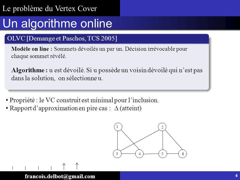 Un algorithme online OLVC [Demange et Paschos, TCS 2005] Propriété : le VC construit est minimal pour linclusion. Rapport dapproximation en pire cas :
