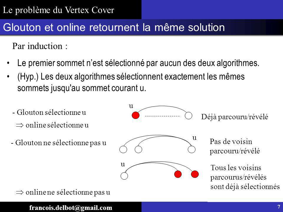 Démonstration : lalgorithme on line est 2-approché en moyenne francois.delbot@gmail.com Le problème du Vertex Cover 8 Les sommets isolés ninfluencent pas la solution Par induction sur la taille optimale Vrai pour opt(G)=1 (les étoiles) (Hyp.) pour tout G tel que opt(G) k-1, Soit G un graphe tel que opt(G)=k et une partition (H,I) de G : OPT V/OPT H I est une couverture de Nous pouvons donc appliquer (Hyp.) sur