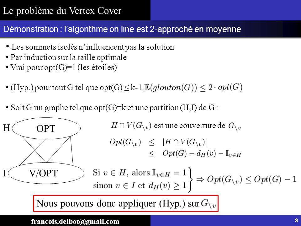 Démonstration : lalgorithme on line est 2-approché en moyenne francois.delbot@gmail.com Le problème du Vertex Cover 8 Les sommets isolés ninfluencent