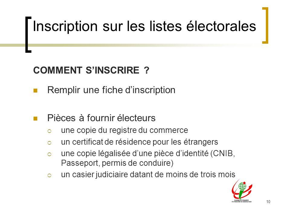 10 COMMENT SINSCRIRE ? Remplir une fiche dinscription Pièces à fournir électeurs une copie du registre du commerce un certificat de résidence pour les