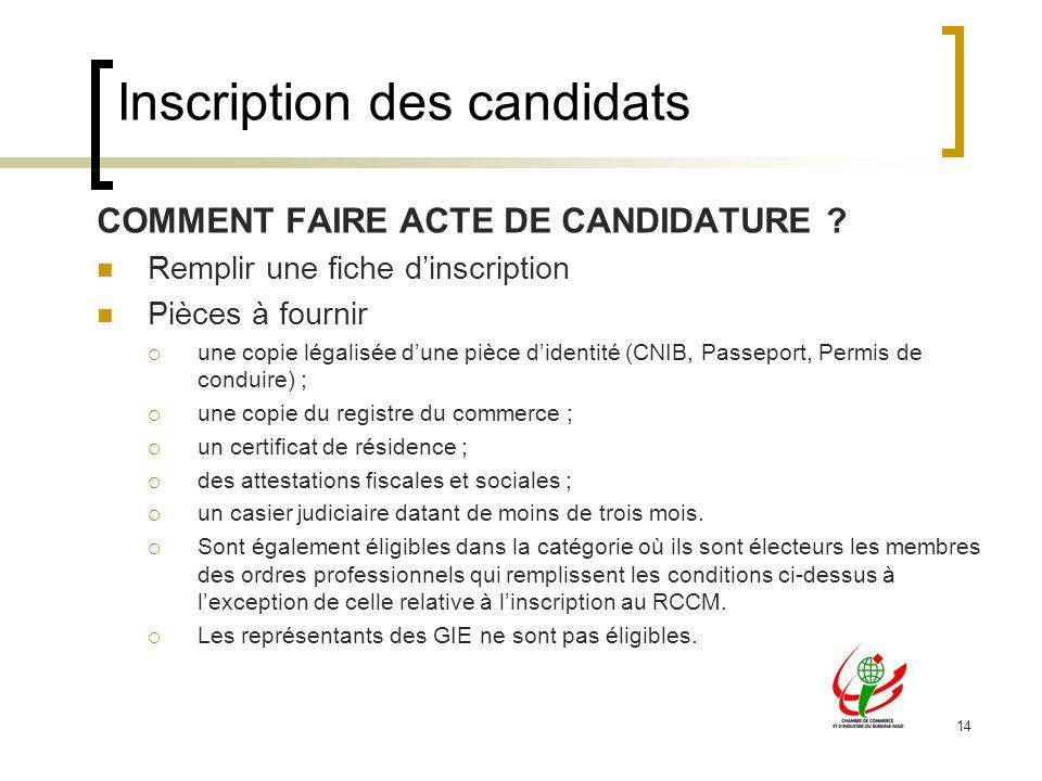 14 Inscription des candidats COMMENT FAIRE ACTE DE CANDIDATURE .