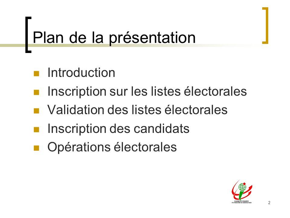 2 Plan de la présentation Introduction Inscription sur les listes électorales Validation des listes électorales Inscription des candidats Opérations électorales