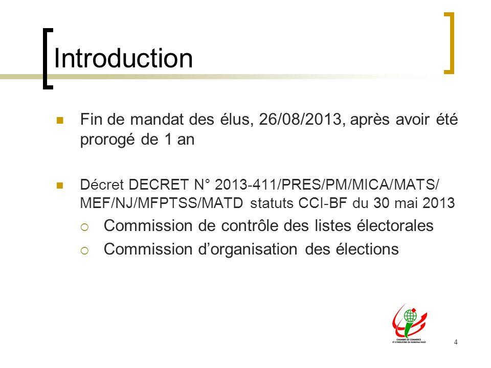 4 Introduction Fin de mandat des élus, 26/08/2013, après avoir été prorogé de 1 an Décret DECRET N° 2013-411/PRES/PM/MICA/MATS/ MEF/NJ/MFPTSS/MATD sta