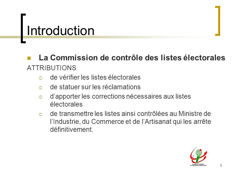 5 Introduction La Commission de contrôle des listes électorales ATTRIBUTIONS de vérifier les listes électorales de statuer sur les réclamations dappor