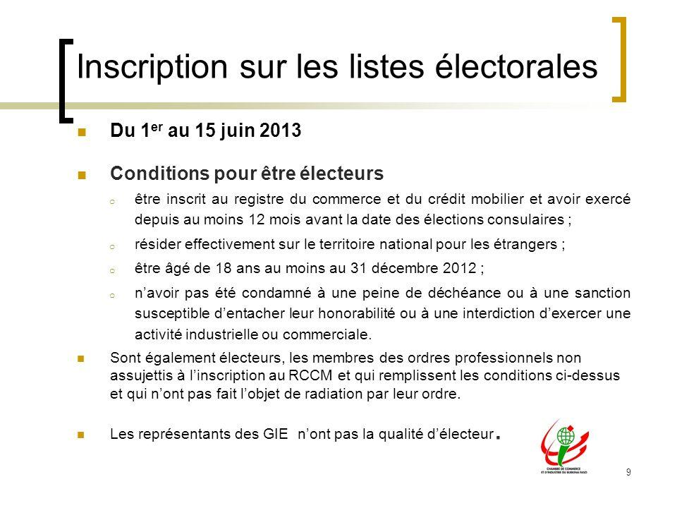 9 Inscription sur les listes électorales Du 1 er au 15 juin 2013 Conditions pour être électeurs o être inscrit au registre du commerce et du crédit mo