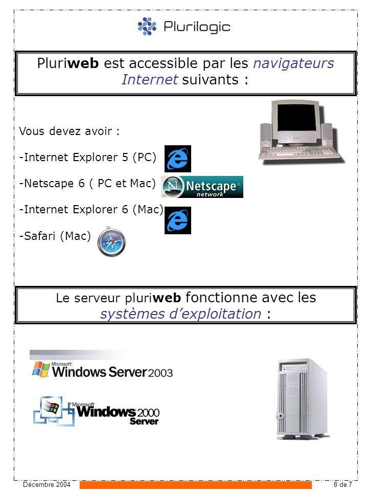 Décembre 20048 de 7 Pluriweb est accessible par les navigateurs Internet suivants : Le serveur pluriweb fonctionne avec les systèmes dexploitation : Vous devez avoir : -Internet Explorer 5 (PC) -Netscape 6 ( PC et Mac) -Internet Explorer 6 (Mac) -Safari (Mac)