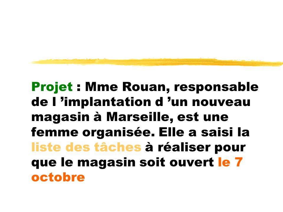 Projet : Mme Rouan, responsable de l implantation d un nouveau magasin à Marseille, est une femme organisée. Elle a saisi la liste des tâches à réalis